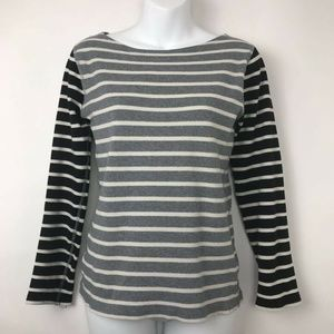 J.CREW Pullover Sweater Gray Black Striped Sz S